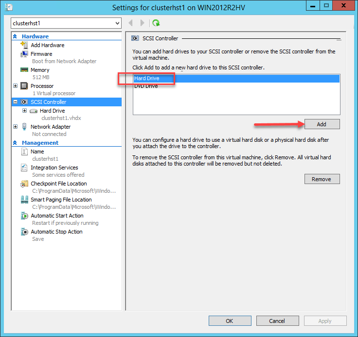 Add a new hard disk to an existing VM in Hyper-V