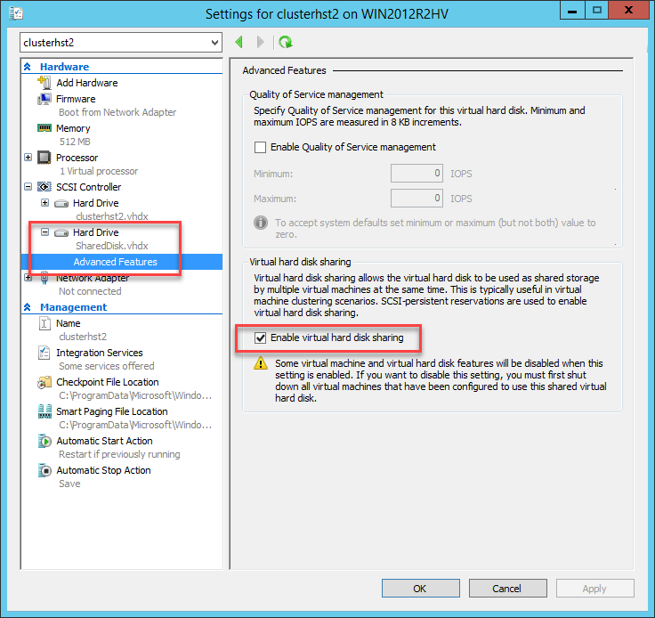 Enable virtual hard disk sharing on the second guest cluster host