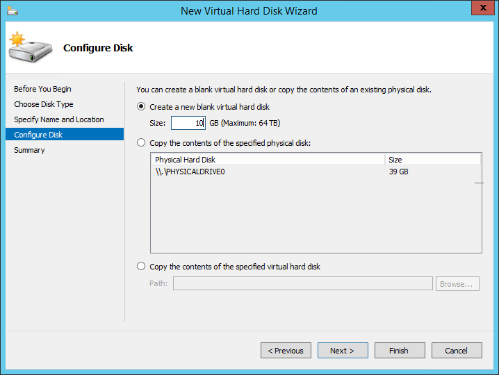 Configure the disk size for the new shared VHDX