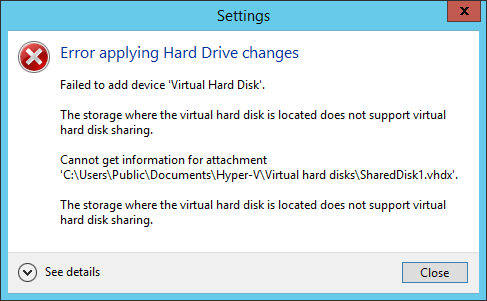 Error enabling drive sharing on unsupported location