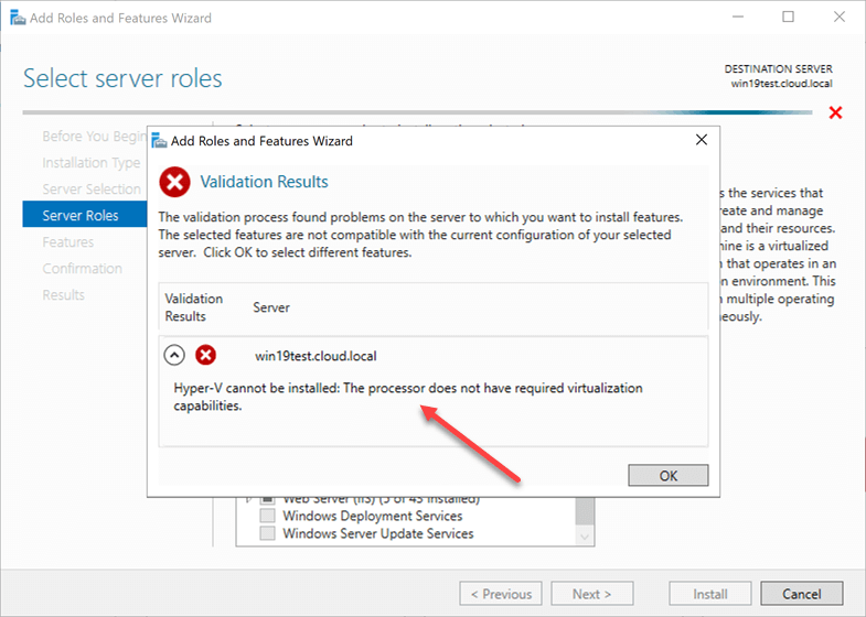 Error installing the Hyper-V role when hardware virtualization flag is not set on the VMware VM