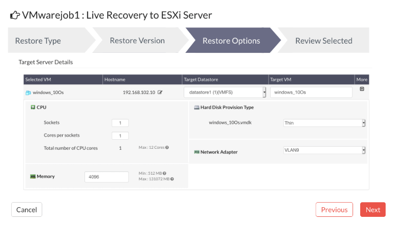 Performing Full VM Restore for VMware VM