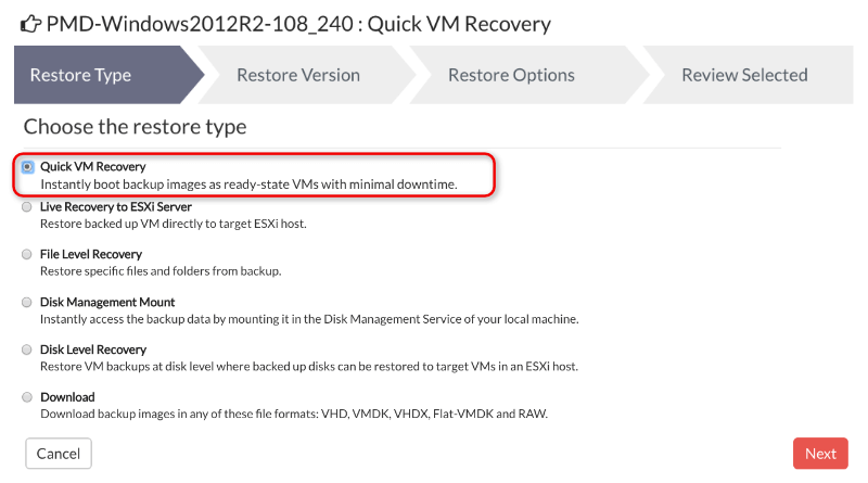 Instant Recovery of Exchange VM