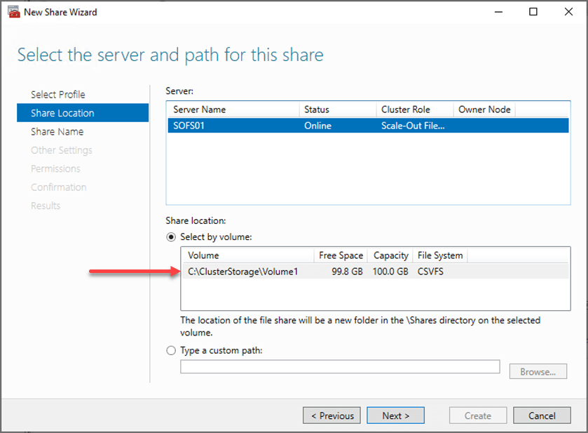 Select the server and path for the SOFS file share
