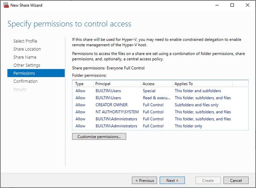 Configuring permissions to control access