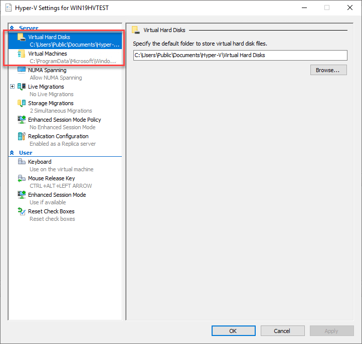 Configuring Hyper-V locations for Direct Attached Storage