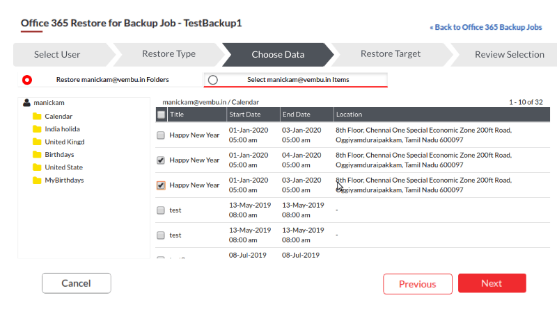 Backup Office 365 Calendars