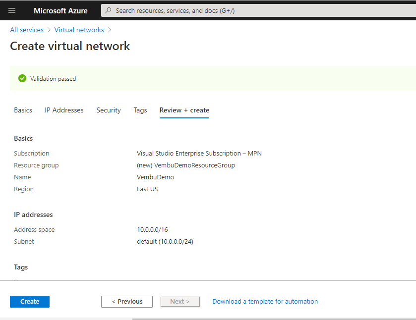 Create and use Azure Virtual Network
