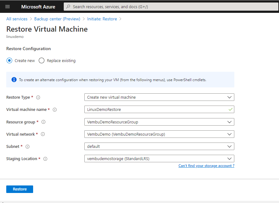 Azure VM in Azure Backup Center